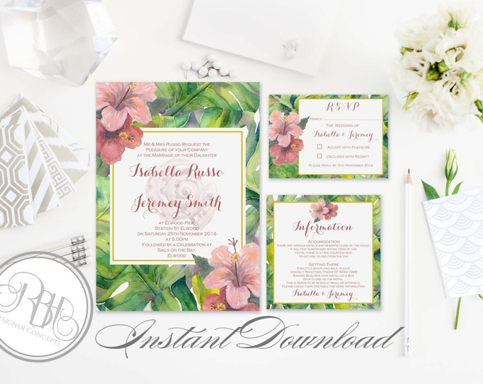 Tropical Island Wedding Invitation-Information Card-Reply Card-Templates-INSTANT DOWNLOAD-DIY Editable Text-Tropical Hawaiian-Lucinda