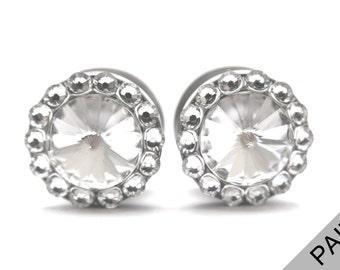 Swarovski Crystal Diamond Plugs / 6g, 4g, 2g, 0g, 00g, 1/2, 9/16, 5/8, 11/16 inch / Bride Gauges Wedding Plugs / Sparkle Plugs