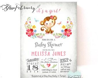 Monkey Baby Shower Invitation Girl Invite // Watercolor Hand-Drawn Monkey Baby Girl Shower // Printable No.1293GIRL