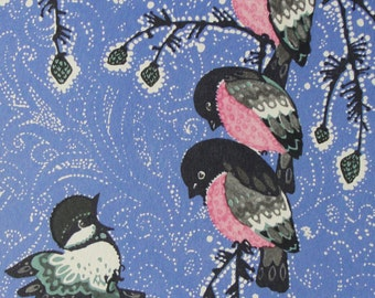 Happy New Year! Vintage Soviet Postcard. Illustrator Iskrinskaya - 1970. USSR Ministry of Communications Publ. Sparrow, Bullfinch, Branches