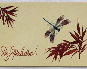 "Illustrator Ohotina. Vintage Soviet Postcard ""Congratulations"" - 1986. Izobrazitelnoe iskusstvo. Dragonfly, Insect, Leaves, Plant, Holiday"