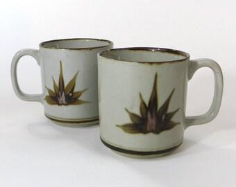 Pair stoneware hand painted mugs - stoneware coffee cups - two stoneware mugs - painted rim stoneware mugs - 1970s coffee cups - 70s coffee