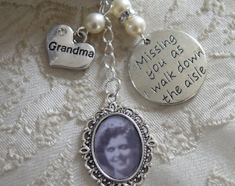Vintage Inspired Ivory Grandma Memorial Bouquet Photo Charm Wedding/Bridal