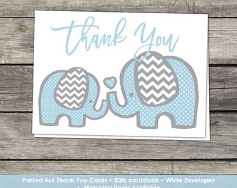 Printed Blue Elephant Thank You Cards -  4x6 Folded Thank You Cards - Elephant Baby Shower Thank You Cards- Baby-102