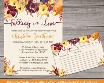 Fall Bridal Shower Invitations - Fall Floral Bridal Shower Invitations - Watercolor Floral - Fall in Love -  Bridal-101