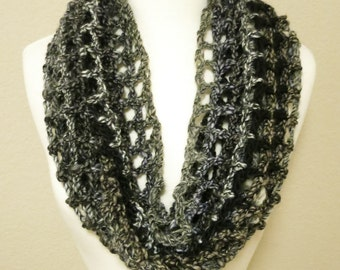 Long Lacy Crochet Cowl in Black and White
