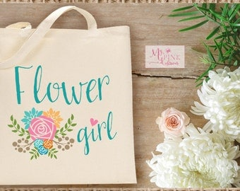 Flower Girl Wedding  Tote Bag  / Flower Girl Gift - Bridal Party Totes