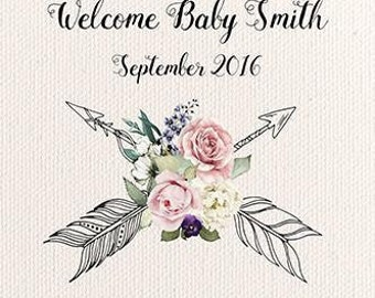 Custom Baby Shower Sign Welcome Backdrop Banner decoration Background Event Photo Booth Floral boho  (Multiple Sizes & Materials Available)