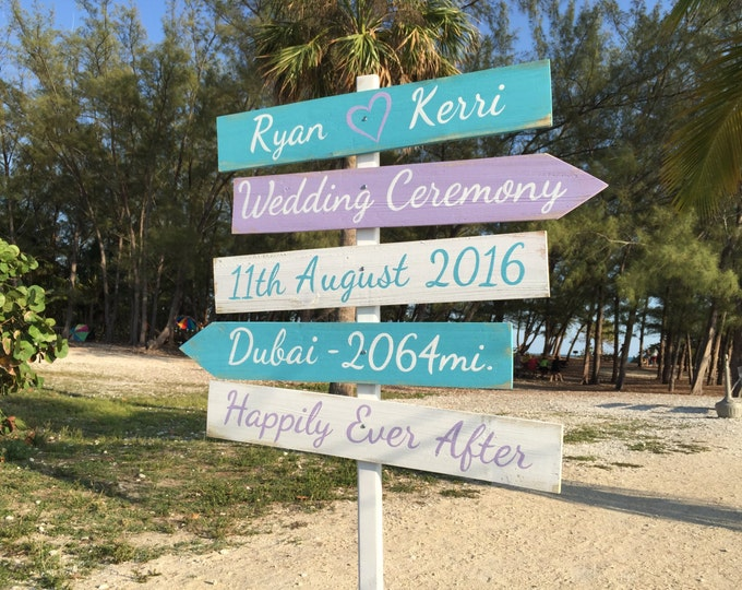 Rustic Wedding Beach Sign, Happily Ever After, Tiffany Blue Wedding Decor, Directional Wedding Sign
