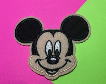 Iron on Sew on Patch:  Face only - Mickey or both