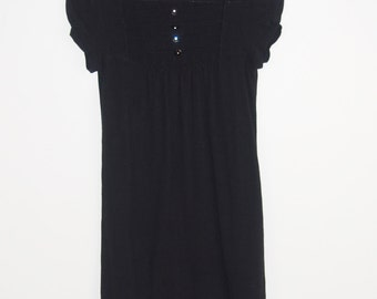 Black Knit Dress with Bib Front