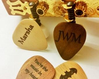 Personalized Guitar Pick, Custom Wood Guitar Pick, Wood Laser Burned Guitar Pick, Music Gift, Gift for Him, Groomsmen Gift