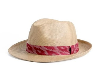 Straw hat , Unisex Panama hat , decorated with a stunning black and white ribbon , Gift for him.