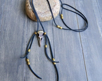 Black Bird Handmade Brass and Leather Necklace