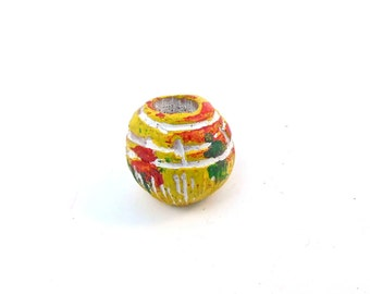 Rasta Ceramic Round Dread Bead, 7mm Hole Size, Yellow Red and Green, The Dread Bead Shop