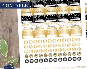 Birthday printable planner stickers in black and gold for Erin Condren, Mambi Happy Planner planner.