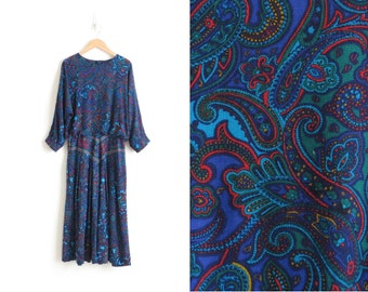 70s Dress Boho Dress Paisley Dress Womens Long Sleeve Midi Dress Long Dress Western Dress Prairie Dress Blue Floral Dress XS Small Medium