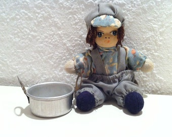 Vintage Toys, Collectible, Miniature Porcelain Doll, with aluminium pot, Mini Doll for dollhouse, Made in Germany, 1950s