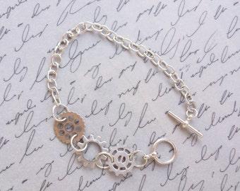 Steampunk Gear Bracelet, Cogs and Gears, Steampunk Jewelry, Silver Bracelet, Steampunk Bracelet, Gear Bracelet, Handmade Jewelry