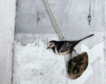 Pied Wagtail Bird Necklace