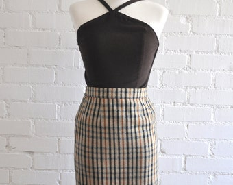 Vintage Plaid Pencil Skirt