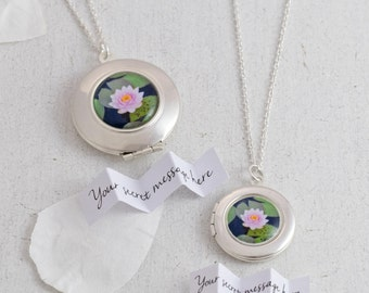 Water Lily Necklace - Bridesmaid Necklace - Flower Locket - Custom Locket - Water Lily Jewelry - Spring Necklace - Silver Locket