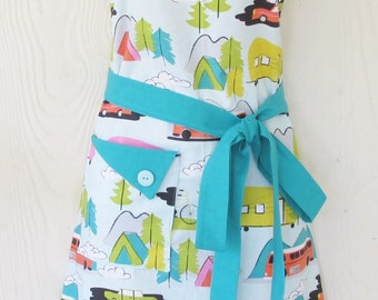 Camping Apron, Retro Trailers, Tents, Summer Travel, Vintage Style Kitchen Apron, KitschNStyle