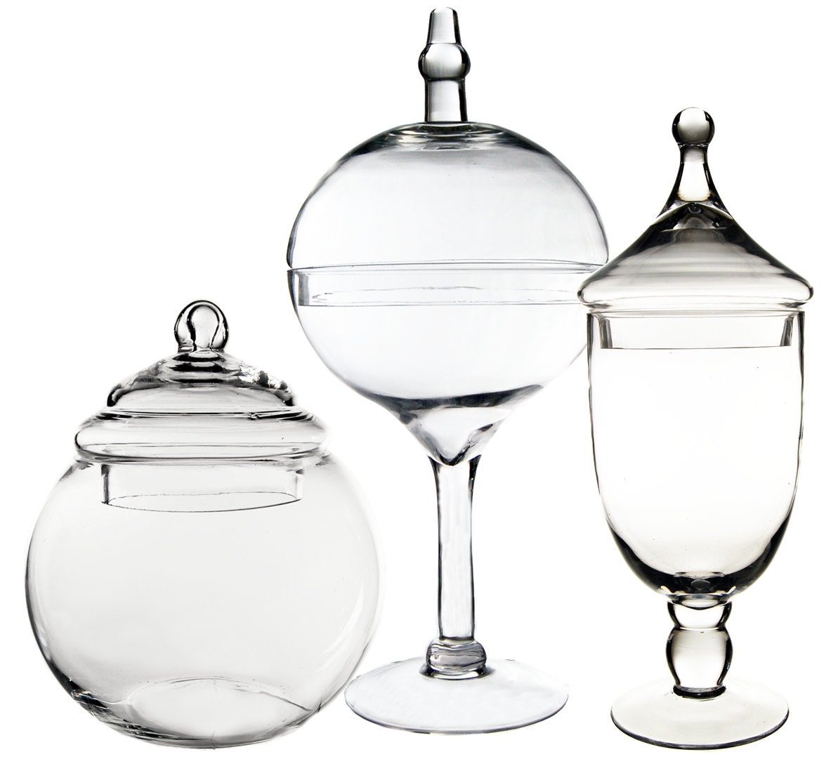 apothecary jar glass candy buffet jar with lid set of 3 pcs. Black Bedroom Furniture Sets. Home Design Ideas
