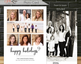 Happy Holidays Christmas Card, Double Sided Photo Christmas Card, 5x7 Printable Christmas Card with Hand Lettering Font