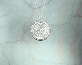 NEW silver swirl necklace, Pendant necklace, silver pendant with chain, sweater pendant, random silver swirl pendant