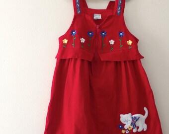 Vintage Red Cat Jumper - Size 5T