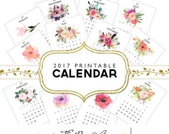 2017 Printable Calendar Instant Download Floral Calendar 2017 Monthly Calendar 2017 Watercolor Floral Calendar Printable Wall Art Calendar