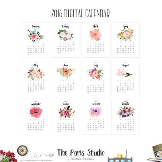 ... Calendar 2016 Watercolor Floral Calendar Printable Wall Art Calendar