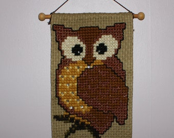 Sparkling vintage retro wall hanging Tapestry. Hand-embroidered with motif of an Owl. Made in Sweden Scandinavian.