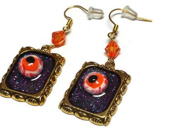 Creepy Monster Eye Earrings, Eyeball Earrings