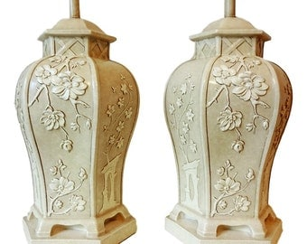 VVH Vintage Pair Pagoda Table Lamps Large Chinoiserie Hollywood Regency Asian Style Cherry Blossom Palm Beach Coastal Mid Century Modern