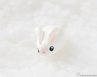 Cute rabbit Sugar - Kawaii white bunny, lovely handmade pendant for animal lovers jewelry