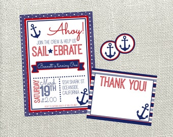 Nautical Birthday Invitations gangcraftnet