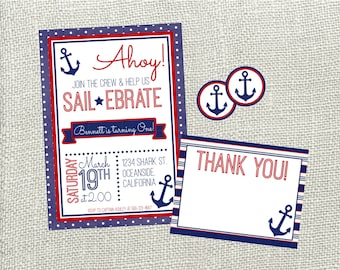 nautical birthday  etsy, Birthday invitations