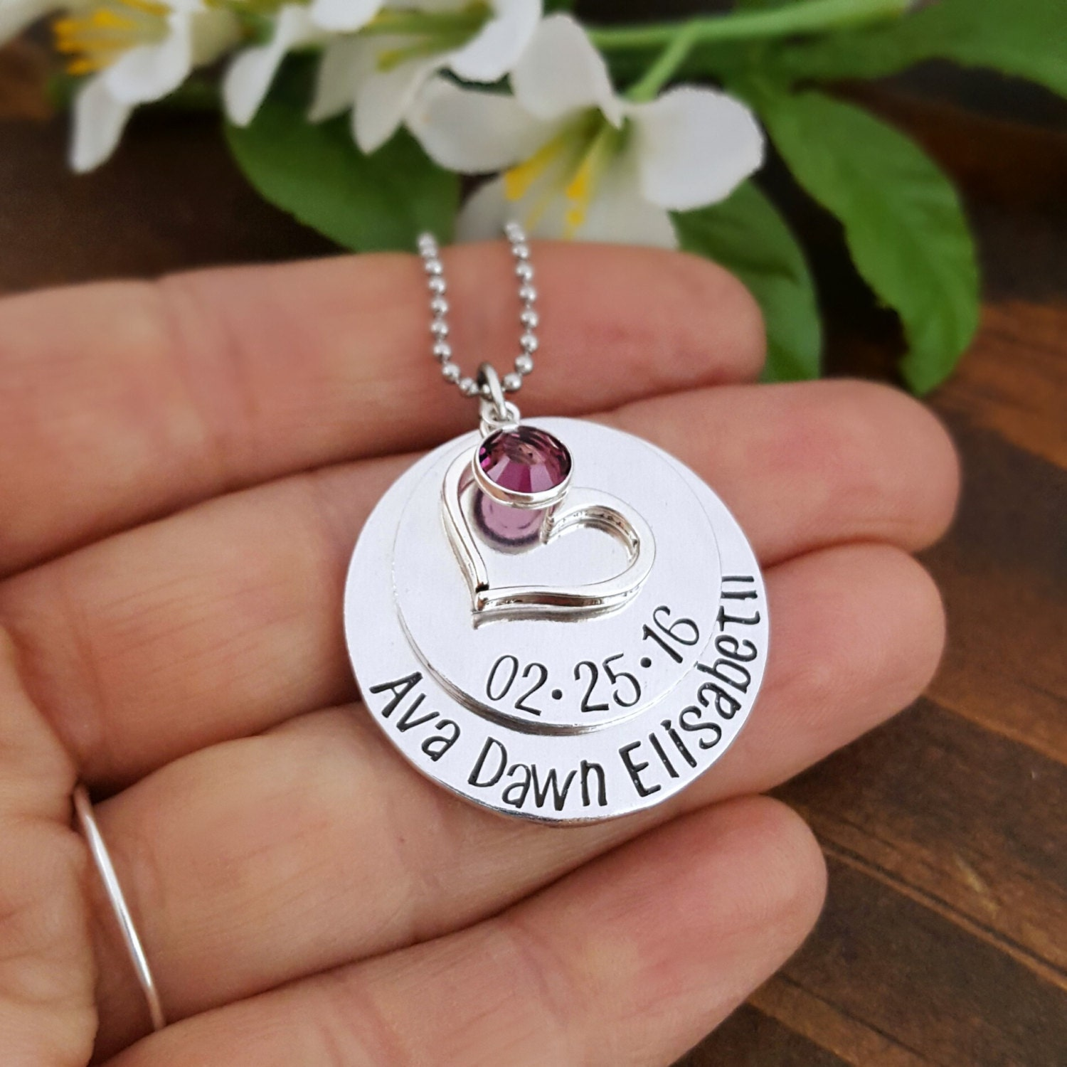 New Mommy Necklace With Baby S Name And Birth Date