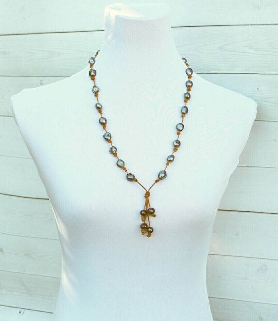 Tahitian Pearl And Leather Necklace: Tahitian Style Pearl Leather Necklace Black By