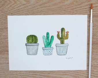 """Watercolour & Ink Original """"Cacti Line Up"""" - 5""""X7"""" painting (133mmX190mm)"""