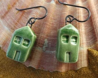 House earrings, ceramic earrings, ceramic building earrings, green earrings, home earrings, house jewellery