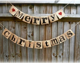 Merry Christmas Hessian/Burlap banner/rustic holiday sign/hessian  Christmas mantel decoration/rustic modern twist
