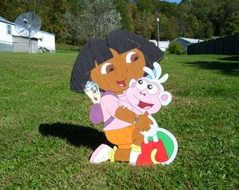 Dora the Explorer, Wood Yard Art,Outdoor lawn Decoration