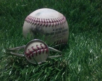 Game Used Baseball Cuff Bracelet- Silver Plated