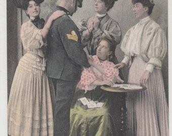 Antique Postcard Your Fortune Teller Gypsy Woman Reading Cards Policeman,C1910,Unused