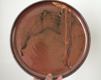 SALE! Handmade Ceramic Plate. Large Dinner Plate. Pottery Platter. Brown Maroon Rust Glaze.