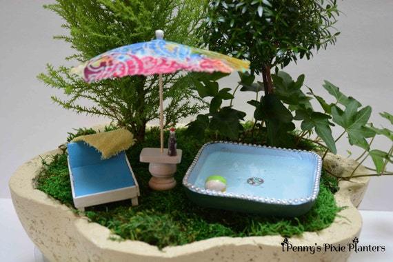 Miniature swimming pool set dollhouse swimming pool set mini for Garden mini pool