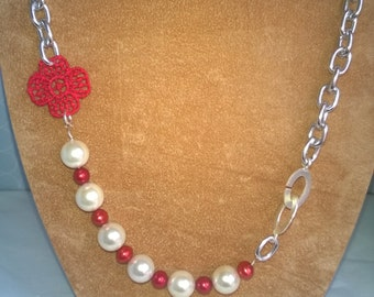 Lace Pearl and Chunky Chain Statement Necklace Asymmetrical with feature clasp Silver Red White